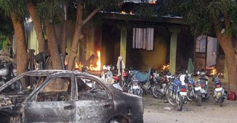 PHOTO: A FILE PHOTO SHOWS A BUILDING OF AN ISLAMIC RELIGIOUS SECT IN FLAMES AFTER NIGERIAN SOLDIERS ALLEGEDLY SET IT ABLAZE WHEN IT RAIDED THE SECT MOSQUE IN MAIDUGURI, BORNO STATE.