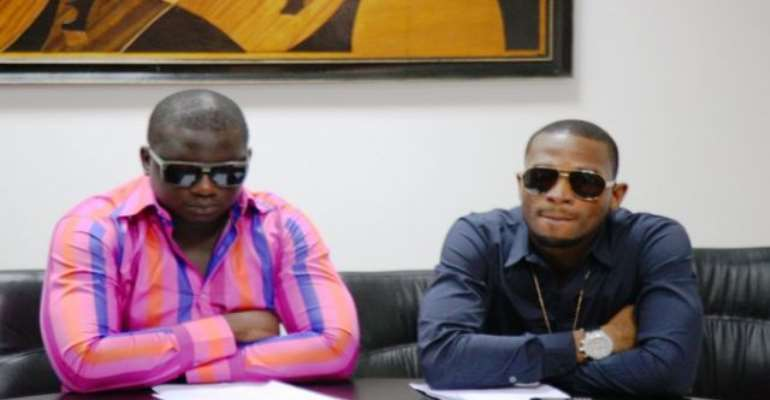 PHOTO: WANDE COAL (L) AND D'BANJ, DURING THE PRESS CONFERENCE.