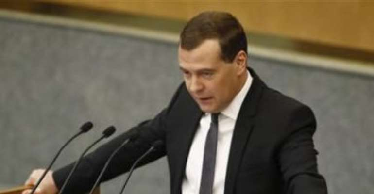 RUSSIA'S PRIME MINISTER DMITRY MEDVEDEV MAKES AN ADDRESS TO THE LOWER HOUSE OF PARLIAMENT IN MOSCOW APRIL 17, 2013.