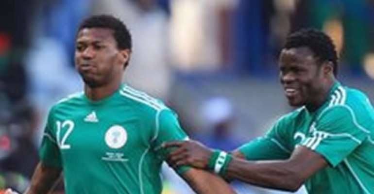 BROTHERS KALU AND IKE UCHE NETTED FOR NIGERIA AS THEY CRUISED PAST ZAMBIA