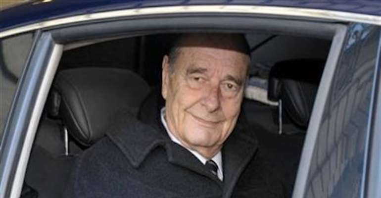 FORMER FRENCH PRESIDENT JACQUES CHIRAC LEAVES HIS OFFICE IN PARIS A FEW HOURS BEFORE THE START OF HIS TRIAL TODAY, MARCH 07, 2011. PHOTOGRAPH BY REUTERS.