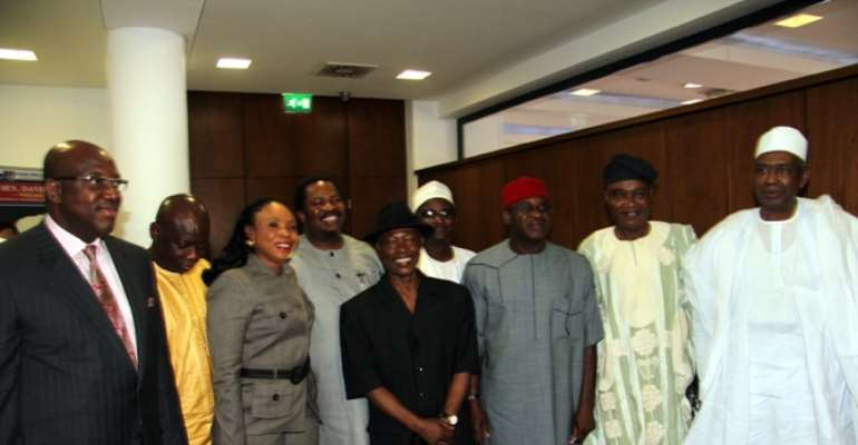 OWNERS OF MEDIA ORGANISATIONS IN NIGERIA UNDER NPAN DURING A VISIT TO SENATE PRESIDENT, SENATOR DAVID MARK  IN FURTHERANCE OF THE LOBBY FOR THE PASSAGE OF THE FREEDOM OF IMFORMATION BILL AT THE NATIONAL ASSEMBLY ABUJA ON MARCH 03, 03, 2011.