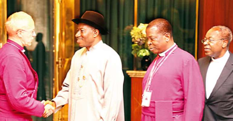 Insecurity: Archbishop of Canterbury visits Jonathan, prays for Nigeria