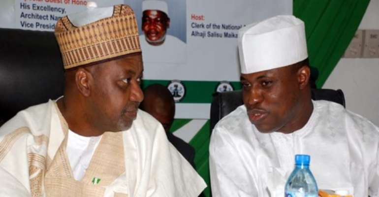 L-R: VICE PRESIDENT NAMADI SAMBO AND SPEAKER OF THE HOUSE OF REPRESENTATIVES, RT HON. DIMEJI BANKOLE AT THE COMMISSIONING OF THE NATIONAL ASSEMBLY BUDGET AND RESEARCH OFFICE (NABRO) IN ABUJA TODAY, MAY 27, 2011.