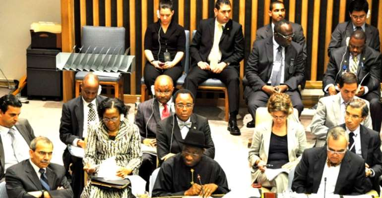 PRESIDENT GOODLUCK EBELE JONATHAN AT THE UN HIV/AIDS SUMMIT IN NEW YORK TODAY, JUNE 07, 2011.