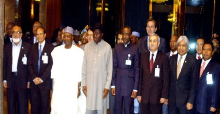 PHOTO: CENTRAL BANK GOVERNORS FROM DEVELOPING EIGHT COUNTRIES (D-8) WITH PRESIDENT GOODLUCK JONATHAN DURING A COURTSEY VISIT TO THE PRESIDENT AT THE PRESIDENTIAL VILLA TODAY, JULY 06, 2010.
