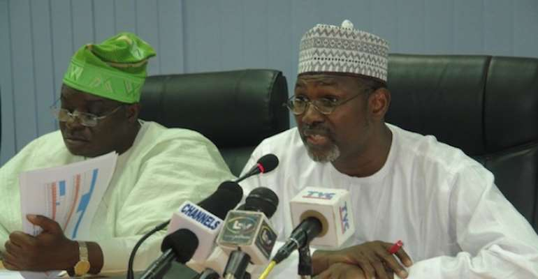 R-L: INEC CHAIRMAN ATTAHIRU JEGA AND INEC COMMISSIONER SOLOMON SOYEBI.