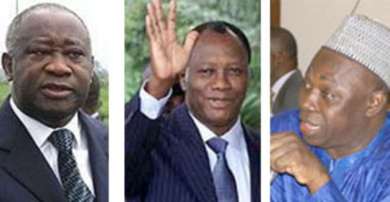 Mr. Laurent Gbagbo (left), Alassane Ouattara (middle)