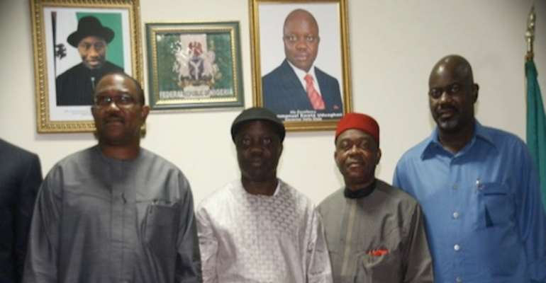 R-L' GOVERNORS LIYEL IMOKE (CROSS RIVER); THEODORE ORJI (ABIA); EMMANUEL UDUAGHAN (DELTA); AND PETER OBI (ANAMBRA) AT THE SOUTH-SOUTH, SOUTH -EAST GOVERNORS MEETING IN ASABA, DELTA STATE, TODAY, JANUARY 23, 2010.