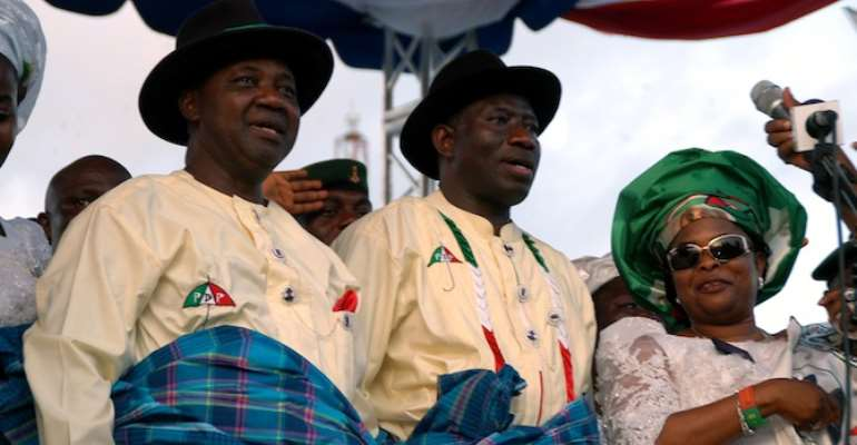 PRESIDENT GOODLUCK JONATHAN FLANKED BY VICE PRESIDENT NAMADI SAMBO AND FIRST LADY, DAME PATIENCE JONATHAN.
