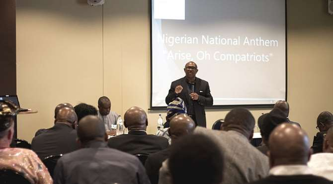 Peter Obi addressing Nigerians in Amsterdam, The Netherlands