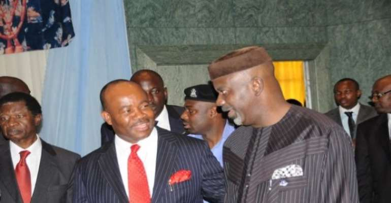 PHOTO: CROSS RIVER STATE GOVERNOR, SENATOR LIYEL IMOKE (R) WITH AKWA IBOM STATE GOVERNOR, MR. GODSWILL AKPABIO (L) CHATTING AT A FUNCTION IN ABUJA A FEW DAYS AGO.