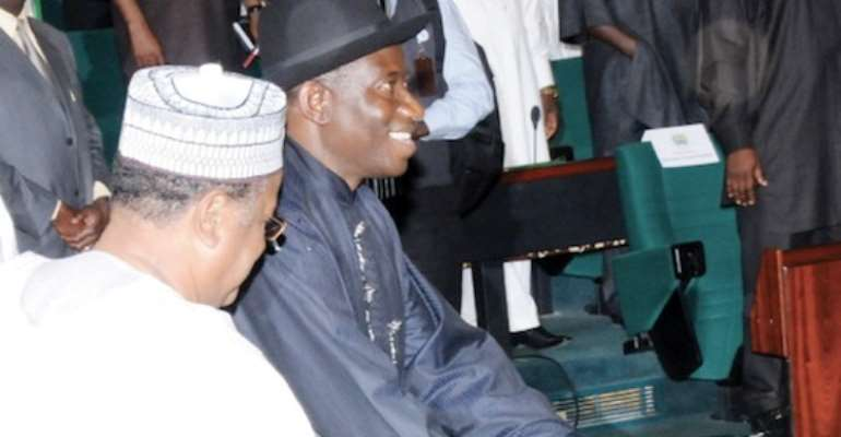 PHOTO: PRESIDENT GOODLUCK EBELE JONATHAN PRESENTS THE 2011 PROPOSED FEDERAL BUDGET EXPENDITURE TO A JOINT SESSION OF THE NATIONAL ASSEMBLY TODAY, DECEMBER 15, 2010.