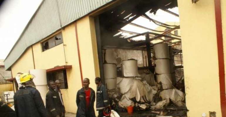PHOTO: THE SUN NEWSPAPER PRESS HALL AFTER THE FIRE INCIDENT.