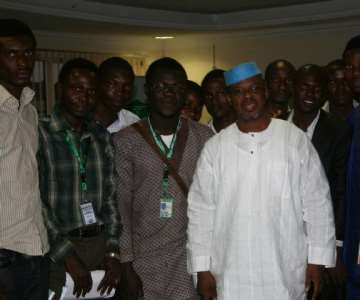 Ekiti State Governor, Engr. Segun Oni (middle) flanked (left) by the Public Relations Officer of the National Association of Nigerians Students (NANS) Joint Campus Committee (JCC), Ekiti and Ondo States Axis, Comrade Omowa Michael,  Chairman, Comrade Aremo Gbenga Oyebode and other NANS executive members during the students' courtesy visit to the governor ...on Friday
