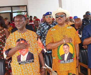 (L-R) Akunwata Mike Kwento, State Chairman of APGA, ChiefWillie Obiano, Governor of Anambra State and Chief Victor Umeh,National Chairman of APGA at the reception organised for 3500 APCdefectors into APGA in Awka.