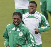 Pics of the Nigerian soccer team as they practice and prepare for their next match against Greece