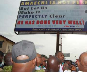 PRINCE TONYE PRINCEWILL ADRESSING THE MEDIA AFTER UNVEALING ONE OF THE PPA BILBOARDS, DEDICATED TO YHE AMAECHI CAMPAIGN