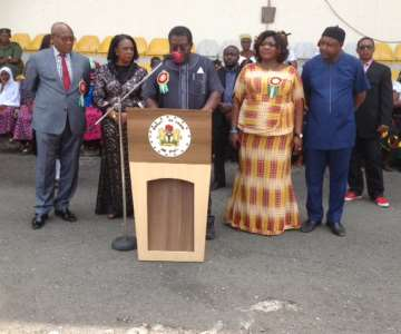Imo Deputy Governor delivering an address the Armed Forces Remembrance Day Celebration earlier in the day at Heroes Square, Owerri, Imo State