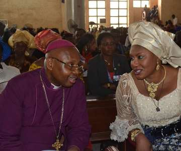 (L-R): Wife of Anambra State Governor Her Excellency Chief (Mrs.) Ebelechukwu Obiano and Bishop of Awka Diocese Anglican Communion, Rt Rev. Alex Ibezim during the Child dedication and Thanksgiving Service by Wife of the Bishop at St Faith Cathedral Awka yesterday.