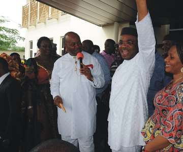 Governor Akpabio presenting the Governor-elect, Mr. Udom Gabriel Emmanuel to jubilant Akwa Ibom people after his declaration as the winner of April 11 gubernatorial election by INEC.