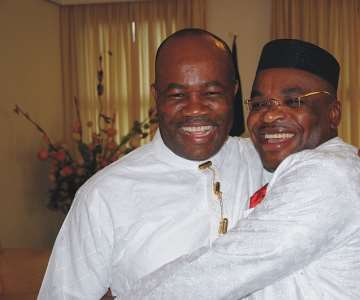 Governor Godswill Obot Akpabio embracing Akwa Ibom State Governor-elect, Mr. Udom Gabriel Emmanuel after his victory at the poll