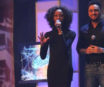 NIGERIAN IDOL 5 CONTESTANT, ULOMA WITH SHOW PRESENTER, ILLRHYMZ DURING HER GROUP STAGE PERFORMANCE AT THE OMG DREAM STUDIOS IN LAGOS AT THE WEEKEND