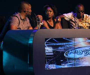 NIGERIAN IDOL 5 JUDGES, DAREY ''ART'' ALADE, YINKA DAVIES AND DEDE MABIAKU DURING THE GROUP STAGE PERFORMANCE FOR TOP 30 BATCH 3 AT THE OMG DREAM STUDIOS IN LAGOS AT THE WEEKEND