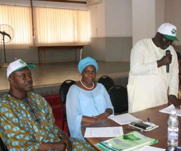 Ekiti State Coordinator of the Goodluck Support Group (GSG), Rt. Hon.<br/>Femi Akinyemi addressing the newly inaugurated members of the expanded Central Working Committee (CWC), Deputy Local Government Coordinators and Secretaries of the Goodluck Support Group (GSG) in Ado-Ekiti on Friday<br/>