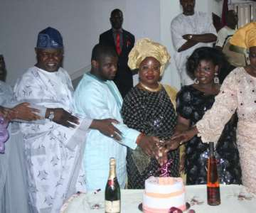 Wife of Ekiti State Governor, Mrs. Olukemi Oni, Speaker of the State House of Assembly, Rt. Hon. Olatunji Odeyemi and the Head of Service, Mr. Olufemi Adewumi clicking glasses during Governor Segun Oni's 56 birthday celebration in Ado-Ekiti on Sunday. The governor is presently on a working visit to South Korea.