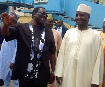 Their Excellencies, Governor of Sokoto, Aliyu Magatakarda Wammako with Deputy Governor of Imo State, Prince Eze Madumere (MFR) discussing in a lighter mood at Sam Mbakwe Int''l Cargo, Owerri after a visit by the former to the Governor of Imo State, Owelle Anayo Rochas Okorocha earlier today.