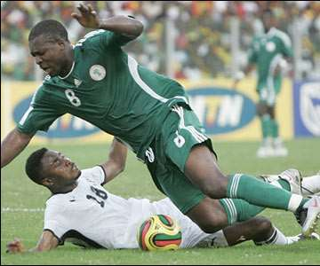 Nigeria are awarded a penalty 10 minutes before half-time when Everton striker Yakubu is fouled in the area