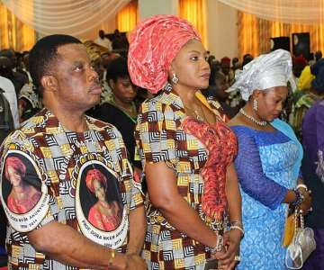 (L-R) Chief Willie Obiano, Governor of Anambra State, Chief Mrs Ebelechukwu Obiano, his wife, Princess Chinwe Nwaebili, Speaker, Anambra State House of Assembly and Chief Mrs Bola Obasanjo, wife of former President Obasanjo at the Special Honours & Tributes Ceremony for Prof Dora Akunyili in Awka...Wednesday