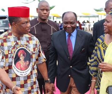 (L-R) Chief Willie Obiano, Governor of Anambra State, former President Yakubu Gowon and his wife Victoria arriving the venue of the Honours & Tributes Ceremony for Prof. Dora Akunyili in Awka...Wednesday