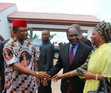 Chief Willie Obiano, Governor of Anambra State welcoming former President Yakubu Gowon and his wife Victoria to the Honours & Tributes Ceremony for Prof Dora Akunyili in Awka...Wednesday