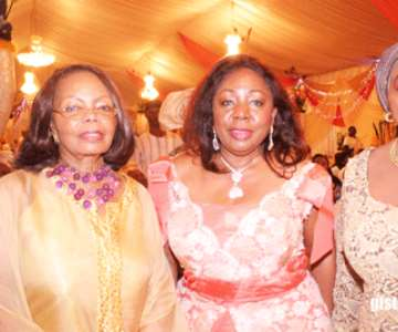 L-R-Opral Benson,Senator Ita-Giwa and Hajia Abah-Folawiyo at Dele Momodu's 50th birthday in Lagos,Nigeria<br/>