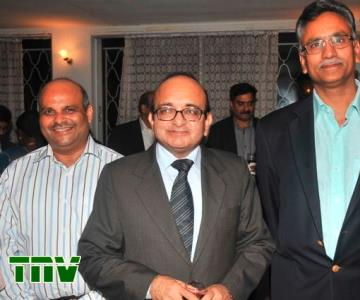 A picture of Chief Operating Officer and Executive Director, Airtel Nigeria, Deepak Srivastava; Indian High Commissioner to Nigeria, Mahesh Sachdev and Chief Executive Officer and Managing Director, Airtel Nigeria, Rajan Swaroop, during a dinner for Indian Software Experts, organised by the Indian High Commission in Lagos at the weekend