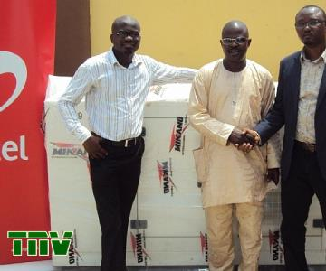 Agbebiyi Akinola, Project Coordinator, Mikano International Limited; Mr. Adewale Adeogun, Education Secretary, Ajeromi/Ifelodun Local Education Authority, Lagos; and Chinda Manjor, Head of Corporate Social Responsibility Programme, during the donation of a brand new generator to Oremeji Primary 2 in Ajegunle, Lagos State by Mikano International Limited as part of Airtel''s Adopt-A-School programme...in Lagos today