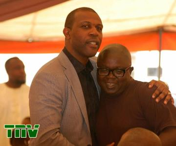 PRINCE TONYE PRINCEWILL WITH A FRIEND AT THE FUNERAL SERVICE OF LATE PA OLAYINKA BAKARE.