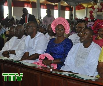 R-L) Minister of State for Works, Prince Dayo Adeyeye, Wife of Ekiti State Governor-Elect, Mrs Feyisetan Fayose, Ekiti Governor-Elect, Mr Ayodele Fayose and Member, Peoples Democratic Party Board of Trustees, Alhaji Shuaib Oyedokun at the Thanksgiving Service on Adeyeye''s appointment as Minister at Ise-Ekiti today